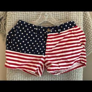 American flag womens chubbies shorts